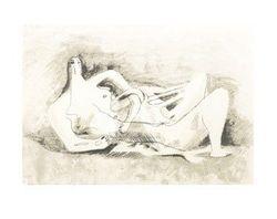 Henry Moore-tekening. Reclining figure (1929)