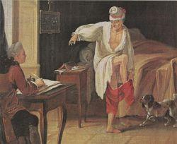 Voltaire door Jean Huber (1721-1786), favoriet schilderij van Kafka