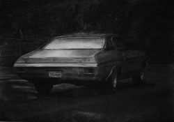 Auto #1, 2009, houtskool op papier