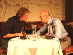 Wim met Nop Maas in Pulchri Studio, Den Haag